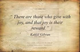 There are those that give with Joy...